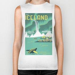Vintage Mid Century Modern Iceland Scandinavian Travel Poster Ocean Whale Winter Village Biker Tank
