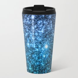 Galaxy Sparkle Stars Periwinkle Blue Turquoise Ombre Travel Mug