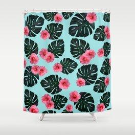 Tropical pattern n.1 - pale blue Shower Curtain