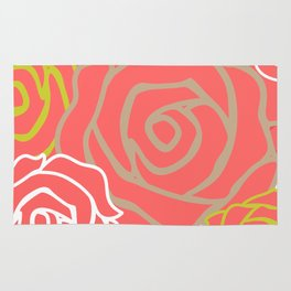 Field of Roses Flower Pattern Bouquet Art Print Wall Decoration Contemporary Wall Graphic Design Rug