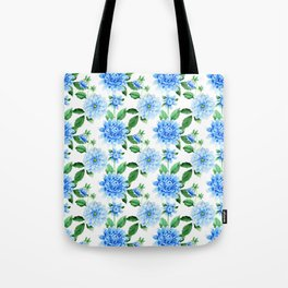 Hand painted sky blue green watercolor modern dahlia floral Tote Bag