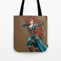 merida Tote Bags featuring Steampunk Merida by Hungry Designs