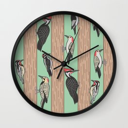 Woodpeckers Pecking Wall Clock