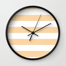 Horizontal Stripes - White and Sunset Orange Wall Clock