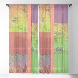 Rainbow Rock Checkered Gingham Patchwork Color Canvas Sheer Curtain