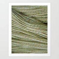 Yellow, light green handspun yarn Art Print