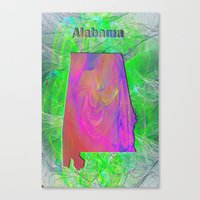 alabama Canvas Prints featuring Alabama Map by Roger Wedegis