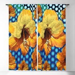 YELLOW-ORANGE AMARYLLIS FLOWERS ON BLUE ABSTRACT Blackout Curtain