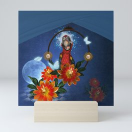 Funny cute parrot with flowers Mini Art Print