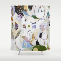 "flora bowley Shower Curtains featuring ""Letting Go"" Original Painting by Flora Bowley by Flora Bowley"