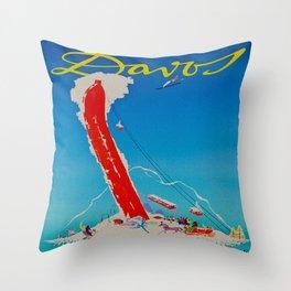 Davos Switzerland Ski Travel Throw Pillow