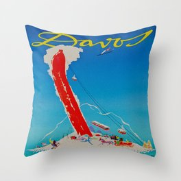 Davos Switzerland Ski Travel Throw Pillow