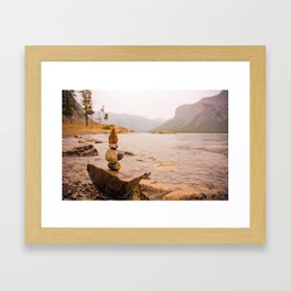 Stone Cairns at Lake Minnewanka Framed Art Print