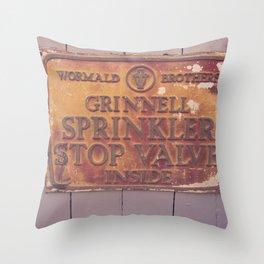Sprinkler Stop Valve Sign Throw Pillow