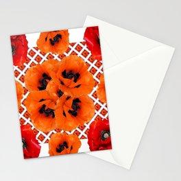 DECORATIVE RED & ORANGE POPPY FLOWERS PATTERN ART Stationery Cards
