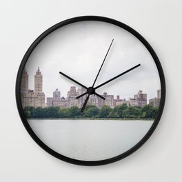 Monochromatic - New York City Central Park, Architecture Landscape, Cloudy City Skyline Photography Wall Clock