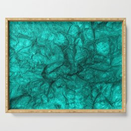 Turquoise crumpled paper background. Serving Tray