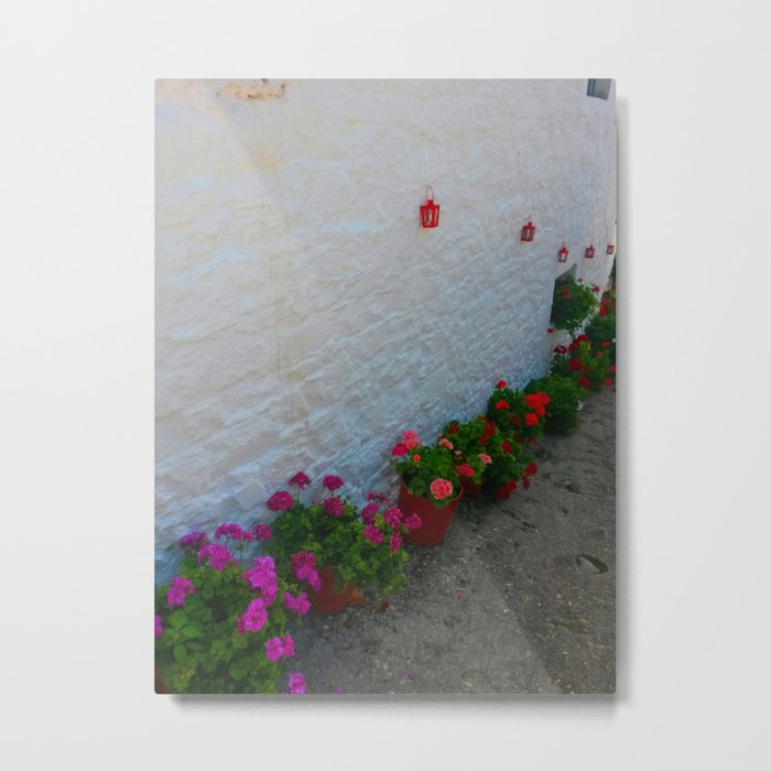 Geraniums small Village   Greece Metal Print