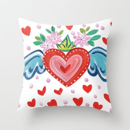 Valentine Heart with Wings Throw Pillow