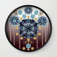 folk Wall Clocks featuring Folk Festival by Vikki Salmela