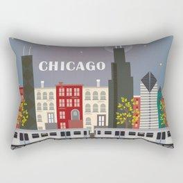 Chicago, Illinois - Skyline Illustration by Loose Petals Rectangular Pillow