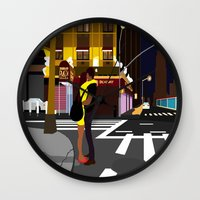 broadway Wall Clocks featuring BROADWAY KISS by Alfred Fox Art & Photography