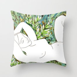 Nude with Green Flowers Throw Pillow