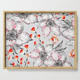 Red And Grey Floral Pattern Serving Tray
