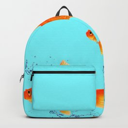 THREE GOLDFISH IN AQUA WATER ABSTRACT ART Backpack