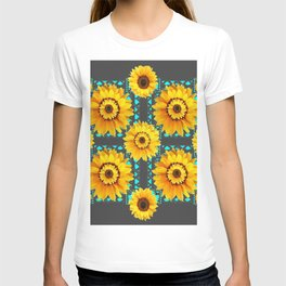 CHARCOAL GREY SOUTHWESTERN SUNFLOWERS ART T-shirt
