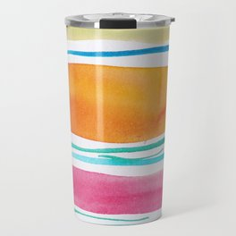 15    181026 Lines & Color Block   Watercolor Abstract   Modern Watercolor Art Travel Mug