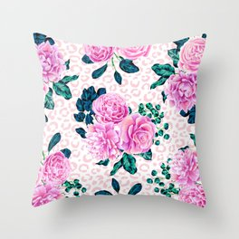 Girly Pink Flowers and Leopard Animal Print Throw Pillow
