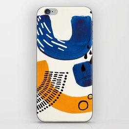 Fun Colorful Abstract Mid Century Minimalist Navy Blue Yellow Organic Shapes Water Drops Patterns iPhone Skin