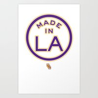 lakers Art Prints featuring Made in LA - LAKERS by DCMBR - December Creative Group