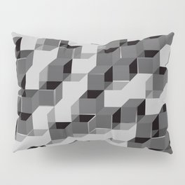 Pixel Cube - Black Silver Pillow Sham