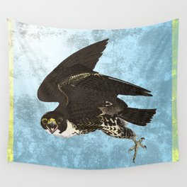 The hawk hangs perfect in mid air.. Wall Tapestry