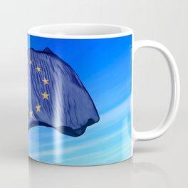 European Union flag waving on the wind Coffee Mug