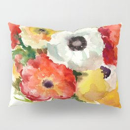 Flowers, Buttercups, orange red white yellow garden floral design Pillow Sham