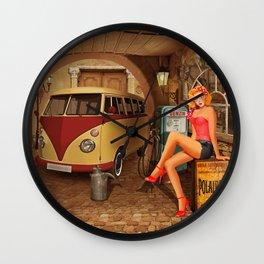 Pin up girl in nostalgic workshop Wall Clock