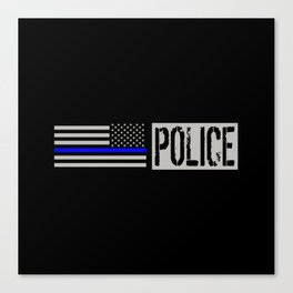 Police: Police Flag (Thin Blue Line) Canvas Print