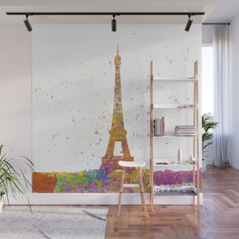 Eiffel tower in watercolor Wall Mural