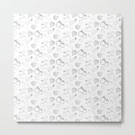Black and white outline vegetables pattern Metal Print