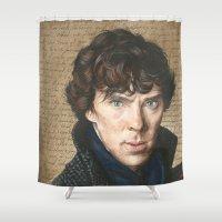 sherlock Shower Curtains featuring Sherlock by Saoirse Mc Dermott