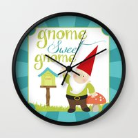 gnome Wall Clocks featuring Gnome sweet gnome by Ink Tree Press by Erin Rippy