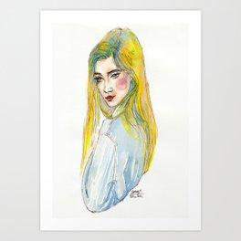 Blue Shirt Art Print