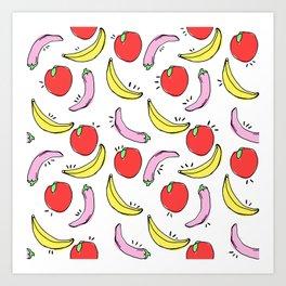 Fruit and Veggie pattern Art Print