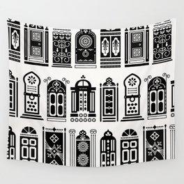 Moroccan Doors – Black Palette Wall Tapestry