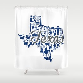 Rice -Texas Landmark State - Gray and Blue Rice University Theme Shower Curtain