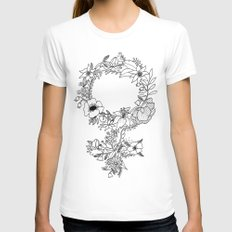 Feminist Flower  2.0 White SMALL Womens Fitted Tee