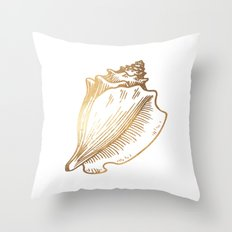 Gold Conch Shell Throw Pillow